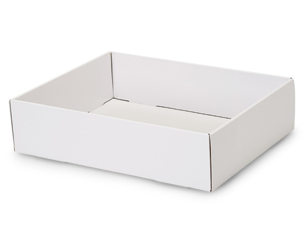 "White Gourmet Decorative 12x9x3"" Corrugated Trays"