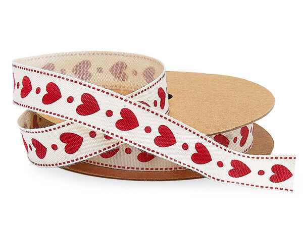 """Red Heart Stamped Ribbon, 5/8"""" x 10 yards"""