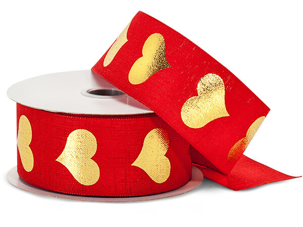 """Metallic Gold Hearts on Red Linen Ribbon, 1-1/2""""x10 yards"""