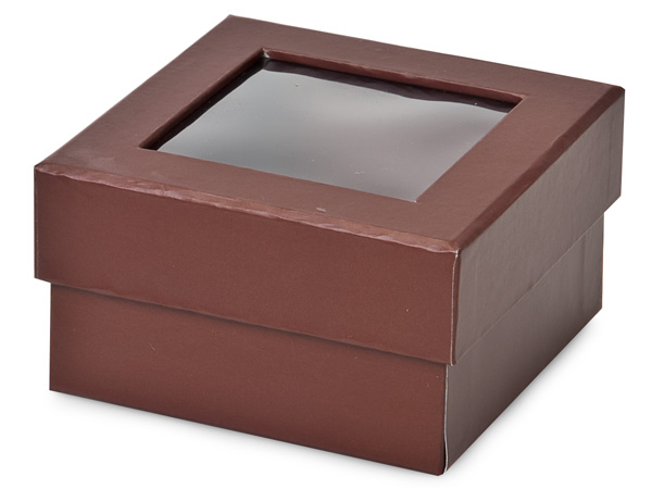 "Chocolate Gourmet Rigid Window Box, Petite 3.75x3.75x2"", 24 Pack"