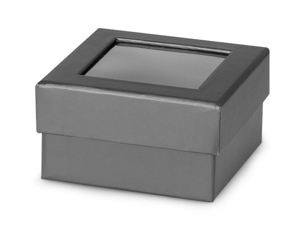 "Metallic Graphite Gourmet Window Box, Petite 3.75x3.75x2"", 24 Pack"