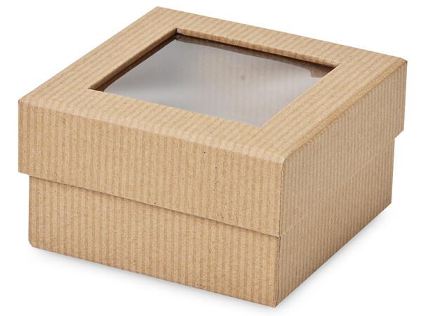 "*Kraft Pinstripe Gourmet Window Petite 3.75x3.75x2"", 3 Pack"