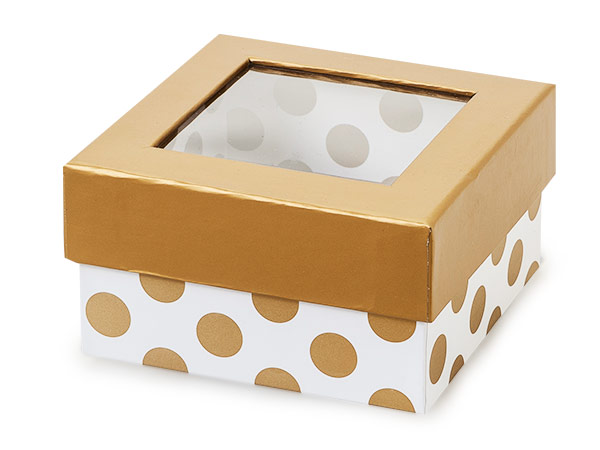 "Gold Polka Dot Gourmet Window Box, Petite 3.75x3.75x2"", 24 Pack"