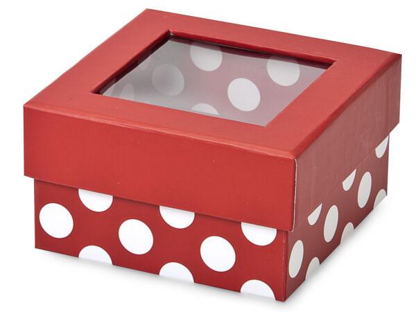 """Red Polka Dot Gourmet Rigid Window Box, Petite 3.75x3.75x2"""", 24 Pack"""