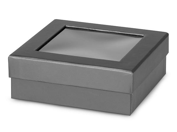 "Metallic Graphite Gourmet Window Box, Medium 5.75x5.75x2"", 24 Pack"