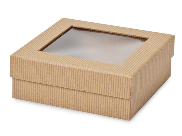 "Kraft Pinstripe Gourmet Window Box, Medium 5.75x5.75x2"", 24 Pack"