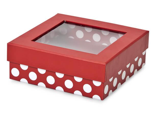 """Red Polka Dot Gourmet Rigid Window Box, Medium 5.75x5.75x2"""", 24 Pack"""