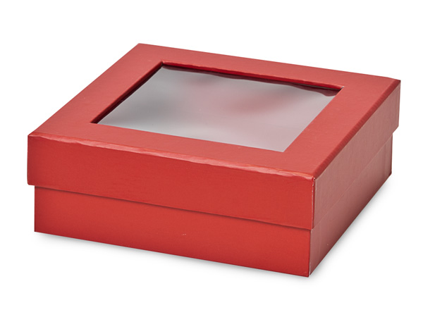 "Red Gourmet Rigid Window Box, Medium 5.75x5.75x2"", 24 Pack"