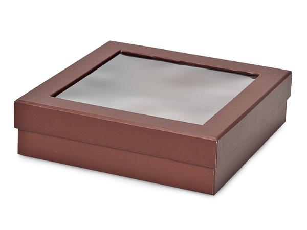 "Chocolate Gourmet Rigid Window Box, X-Large 7.75x7.75x2"", 18 Pack"