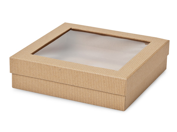 "Kraft Pinstripe Gourmet Window Box, X-Large 7.75x7.75x2"", 18 Pack"
