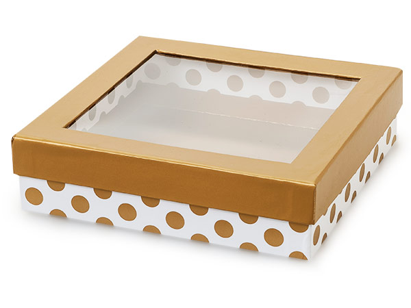 "Gold Polka Dot Gourmet Window Box, X-Large 7.75x7.75x2"", 18 Pack"