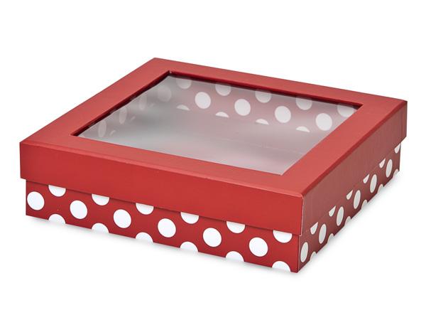 """Red Polka Dot Gourmet Rigid Window Box, X-Large 7.75x7.75x2"""", 18 Pack"""
