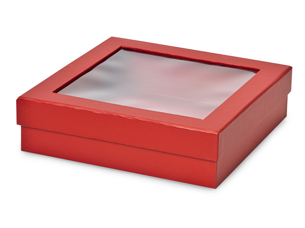 "Red Gourmet Rigid Window Box, X-Large 7.75x7.75x2"", 18 Pack"