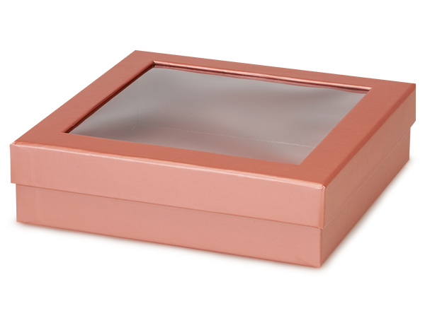 "Metallic Rose Gold Gourmet Window Box, X-Large 7.75x7.75x2"", 18 Pack"