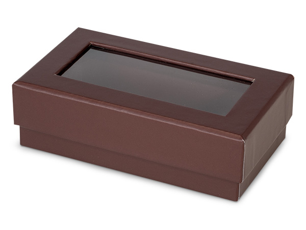 "Chocolate Gourmet Rigid Window Box, Rectangle 5.25x3x1.5"", 24 Pack"