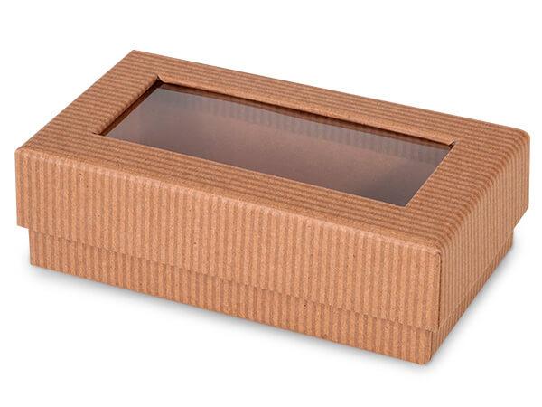 "Kraft Pinstripe Gourmet Window Box, Rectangle 5.25x3x1.5"", 24 Pack"