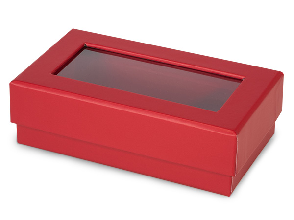 "Red Gourmet Rigid Window Box, Rectangle 5.25x3x1.5"", 24 Pack"