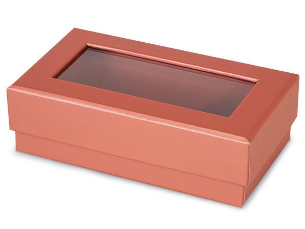 "*Metallic Rose Gold Gourmet Window Rectangle 5.25x3x1.5"", 3 Pack"