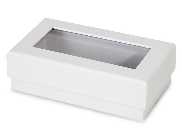 "White Gourmet Rigid Window Box, Rectangle 5.25x3x1.5"", 24 Pack"