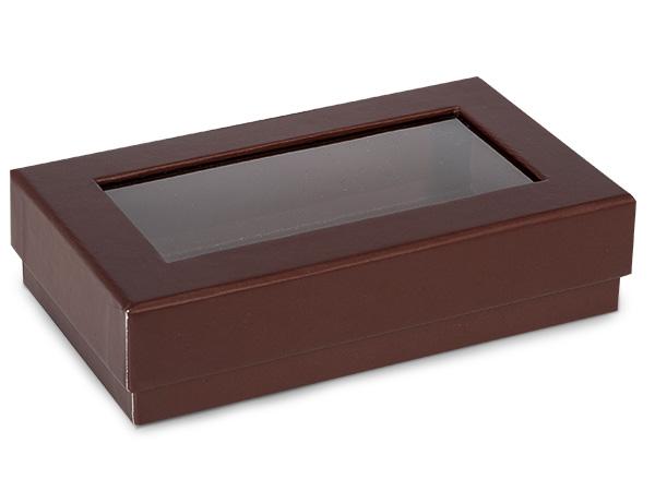 "Chocolate Gourmet Rigid Window Box, Rectangle 6.5x3.75x1.5"", 24 Pack"