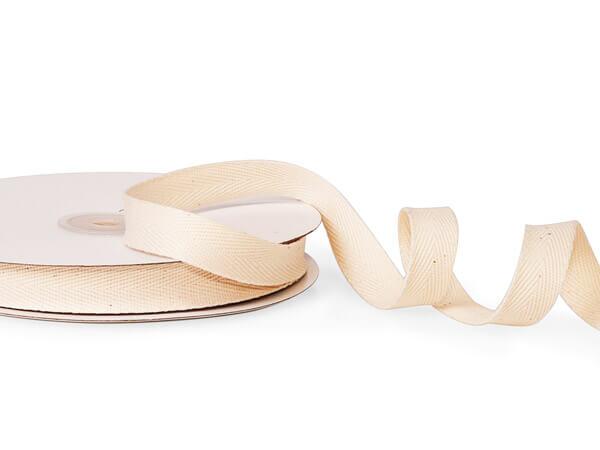 "Ivory Cotton Twill Fabric Ribbon, 5/8""x25 yards"
