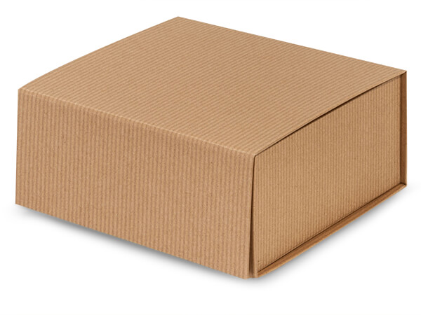Kraft Pinstripe Magnetic Closure Gift Boxes, 6x6x2.75""