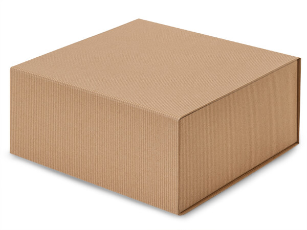 "Kraft Pinstripe Magnetic Closure Gift Boxes, 10x10x4.5"""