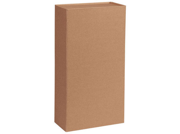"Kraft Pinstripe Magnetic Wine Gift Boxes, 7x3.5x13.5"", 3 Pack"