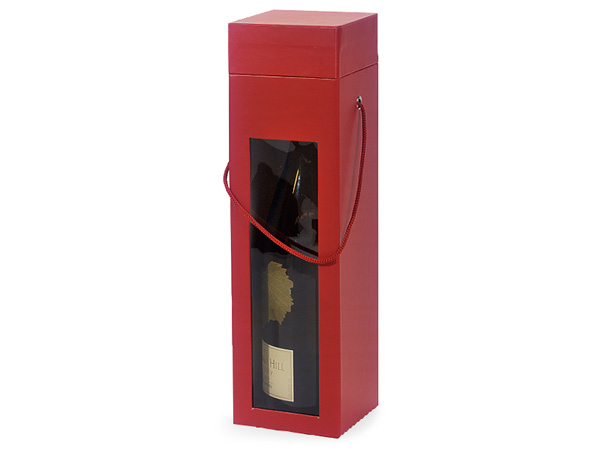 "**Red Large 2 Piece Window Wine Boxes, 3.5x3.5x13"", 3 Pack"