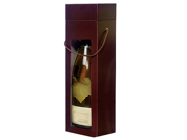 """Chocolate Large 2 Piece Window Wine Boxes, 3.5x3.5x13"""", 3 Pack"""