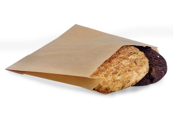 "Portion Bags 5x1-1/2x4-1/2"" Grease Resistant Natural Kraft"