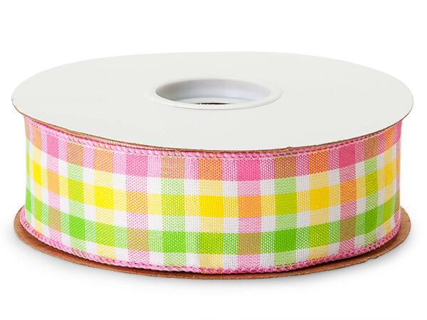"Pink and Yellow Madras Plaid Ribbon, 1-1/2""x50 yards"