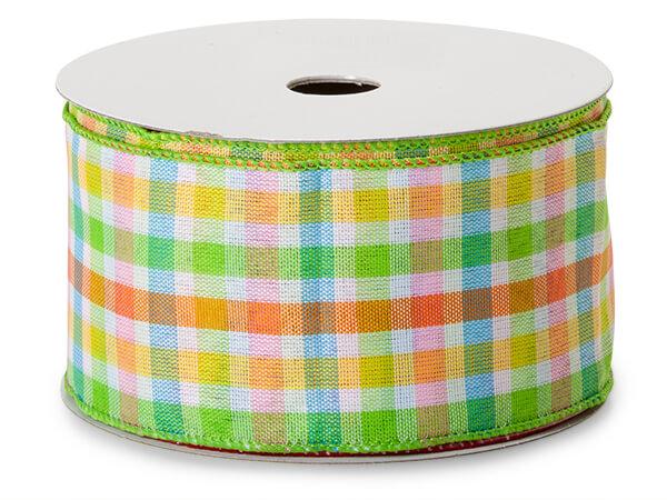"*Green and Orange Madras Plaid Ribbon, 2-1/2""x50 yards"