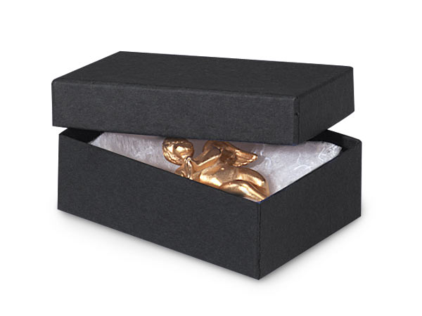 "Black Matte Jewelry Gift Boxes, 3x2.25x1"", 100 Pack, Fiber Fill"