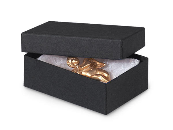 "Black Matte Jewelry Gift Boxes, 3x2.25x1"", 10 Pack, Fiber Fill"
