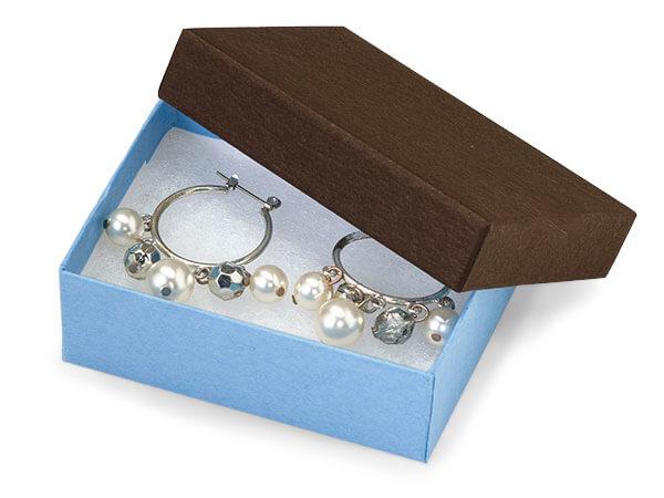 "Chocolate Aqua Duo Jewelry Boxes, 3x2.25x1"", 100 Pack, Fiber Fill"