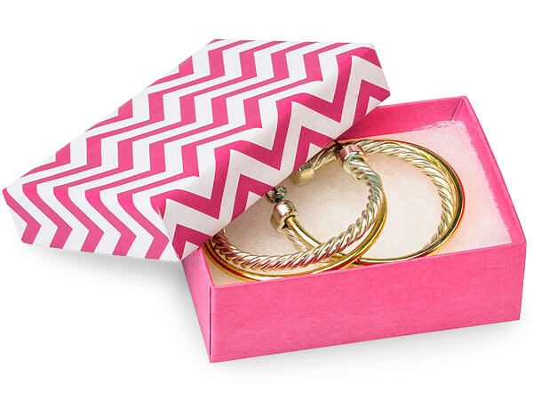 "3x2-1/8x1"" Chevron Calypso Pink Eco Tone Recycled Jewelry Boxes"