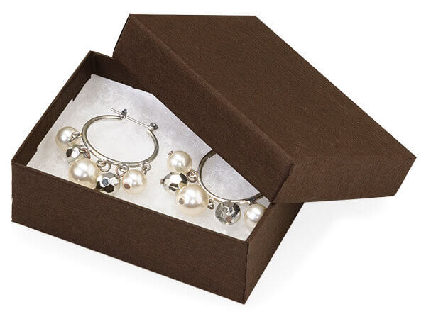 """Chocolate Embossed Jewelry Boxes, 3x2.25x1"""", 10 Pack, Cotton Fill"""