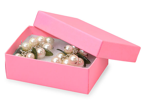 "Calypso Pink Jewelry Gift Boxes, 3x2.25x1"", 100 Pack, Cotton Fill"
