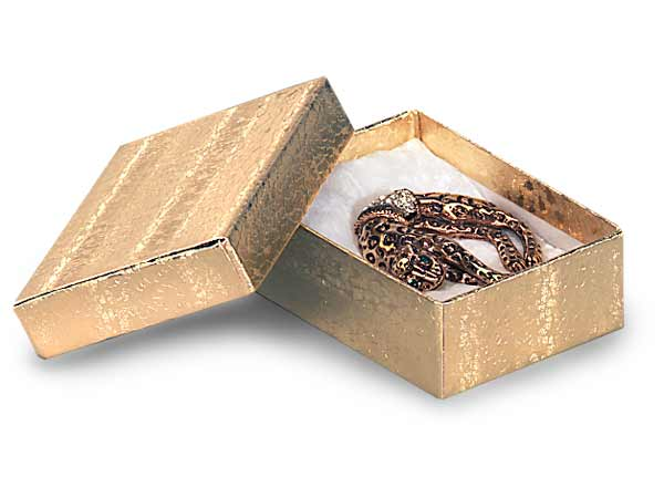 "Gold Embossed Foil Jewelry Boxes, 3x2.25x1"", 100 Pack, Cotton Fill"