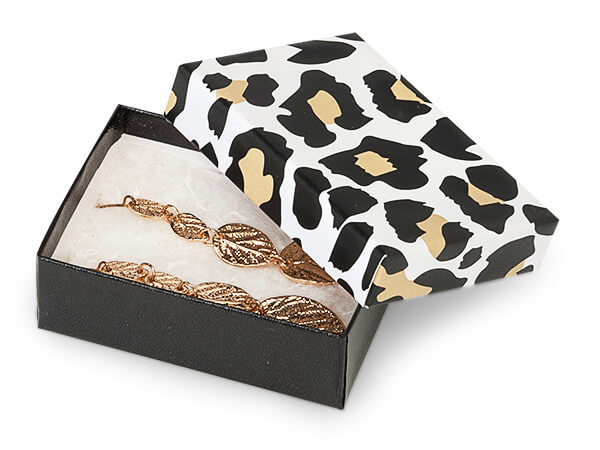 """Golden Leopard Jewelry Gift Boxes, 3x2.25x1"""", 100 Pack, Fiber Fill"""