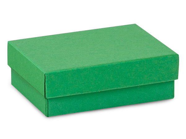 "Green Kraft Jewelry Gift Boxes, 3x2.25x1"", 100 Pack, Cotton Fill"