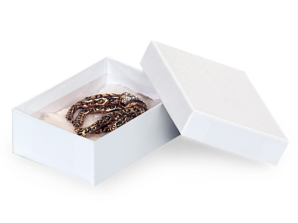 "White Gloss Jewelry Gift Boxes, 3x2.25x1"", 100 Pack, Cotton Fill"
