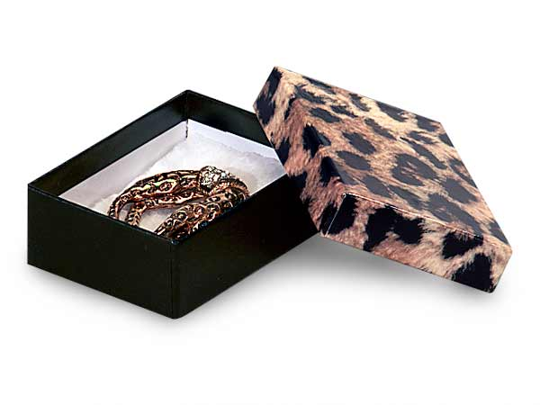 "Leopard Print Jewelry Gift Boxes, 3x2.25x1"", 100 Pack, Cotton Fill"