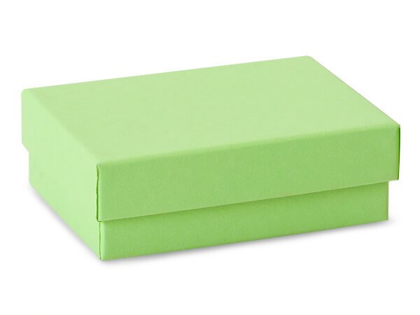 "Light Green Jewelry Gift Boxes, 3x2.25x1"", 100 Pack, Cotton Fill"