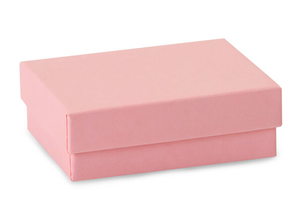 "Pink Kraft Jewelry Gift Boxes, 3x2.25x1"", 100 Pack, Cotton Fill"