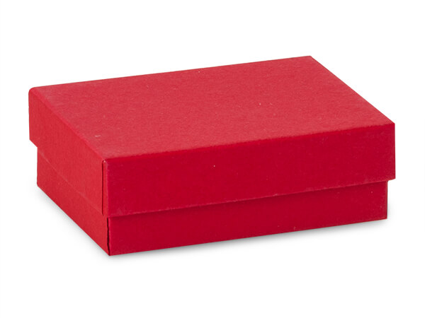 "3x2-1/8x1"" Red Jewelry Boxes with Cotton"
