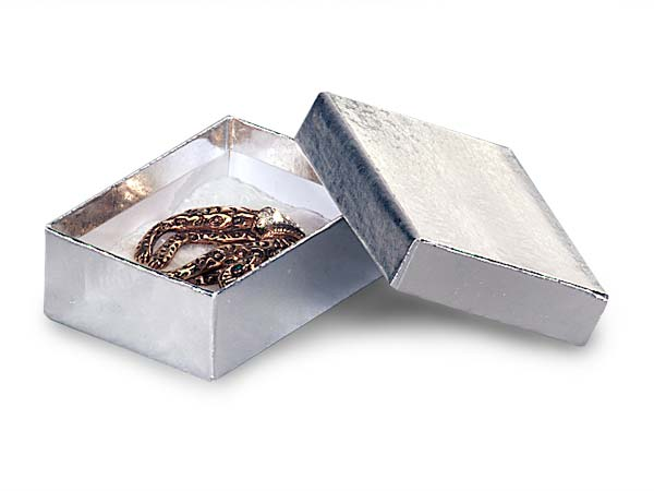 """Silver Embossed Foil Jewelry Boxes, 3x2.25x1"""", 100 Pack, Cotton Fill"""