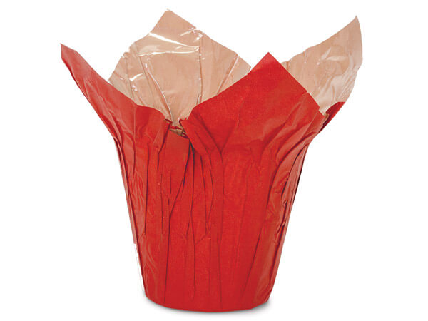 "Red and Natural Kraft Pot Cover, 6"" diameter, 25 Pack"