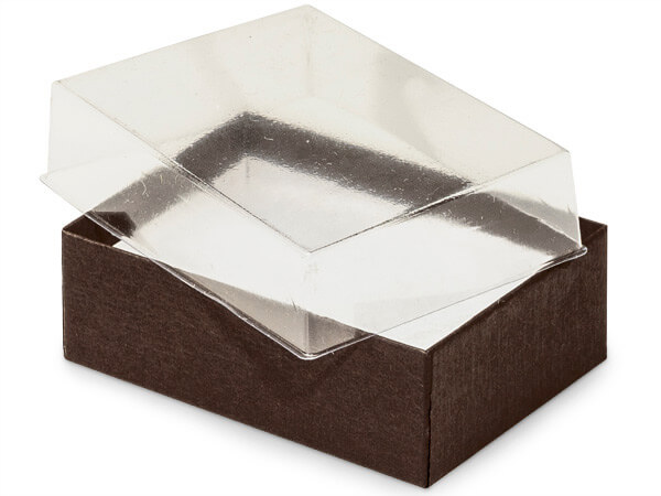 "Clear Lid Chocolate Base Gift Box, 3x2.25x1"", 100 Pack, Cotton Fill"